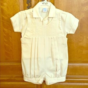 Infant Boy's 2 piece outfit in Cream by Willbeth